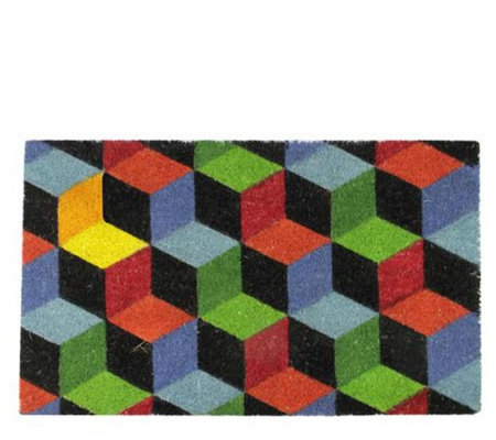Northlight 29 1 2 X 18 Multicolor Cube Rectangular Door Mat