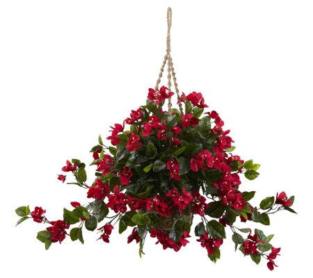 Bougainvillea Hanging Basket By Nearly Natural