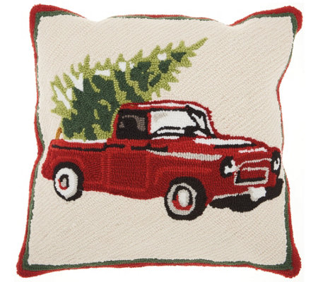 "Mina Victory Tree on Truck Multicolor 18"" x 18""Throw Pillow"
