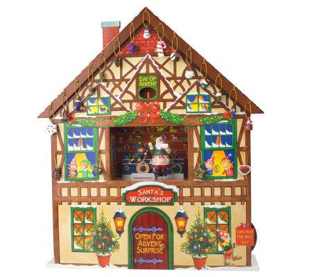 Christmas Advent House.Mr Christmas Musical Advent House With 24 Mini Ornaments Qvc Com