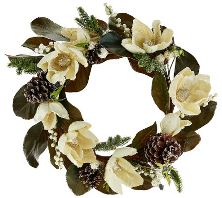 """As Is"" 18"" Glittered Magnolia, Pinecone & Berry Wreath"