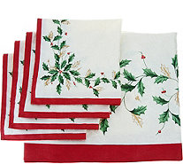 "Lenox Holiday 60"" x 84"" Water Repel Tablecloth w/ 4 Napkins - H210457"