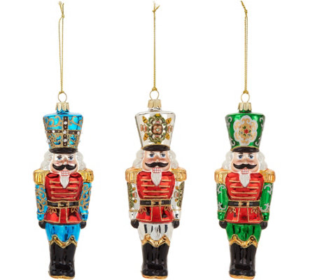 David Dangle Home Collection S/3 Handpainted Nutcracker Ornaments