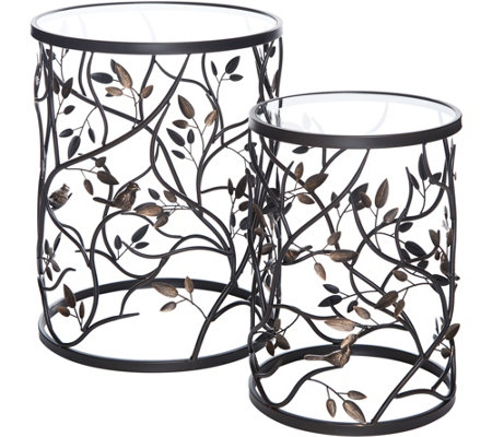 Indoor/ Outdoor 2pc Metal Bird & Vine Tables w/ Glass Top by Valerie