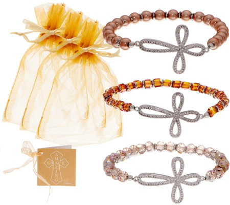 """As Is"" Set of 3 Faceted Bead Bracelets w/ Pave Cross by Valerie"