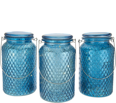 """As Is"" Set of 3 Illuminated Lattice Glass Jar w/Hanger by Valerie"