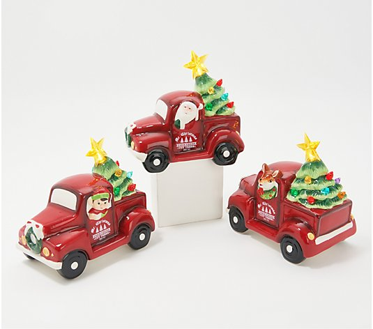 Mr. Christmas Set of 3 Mini Nostalgic Pick Up Trucks