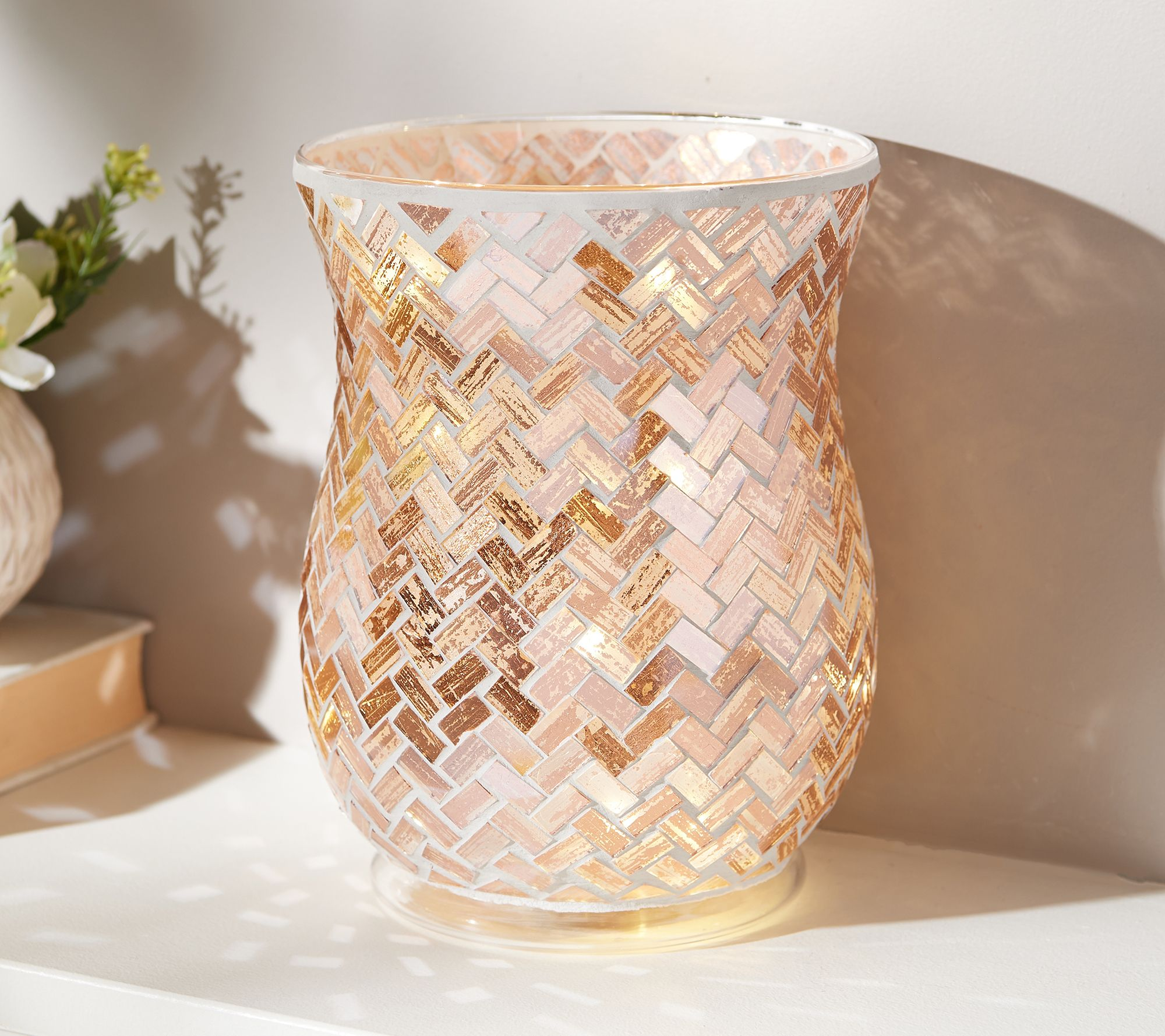 Valerie Mosaic Hurricane Lamp w// Microlights New In Box QVC Parr Hill