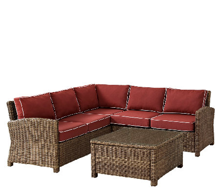 Crosley Bradenton 5-Piece Wicker Seating Set w/Table & Cushio