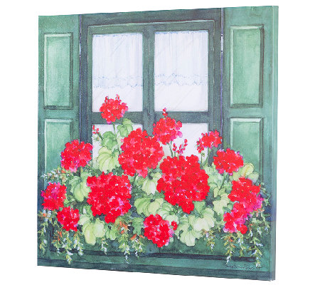 Plow & Hearth Geranium Window Box Outdoor Canvas Wall Art