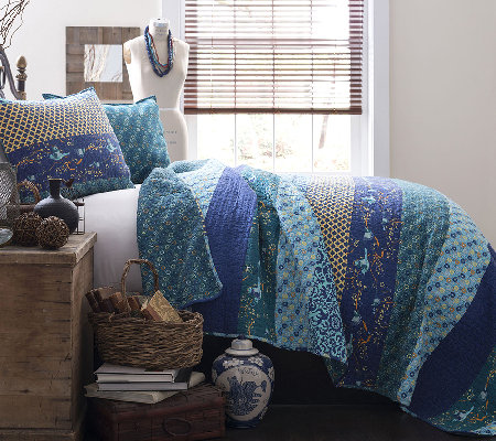 Royal Empire 3-Piece Peacock King Quilt Set b yLush Decor