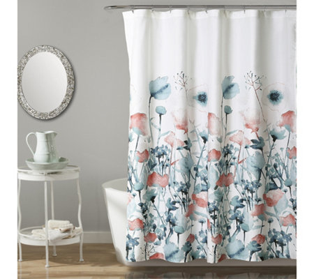 Zuri Flora Blue/Coral Shower Curtain by Lush Decor