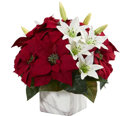 Poinsettia & Lily Arrangement in Vase by NearlyNatural