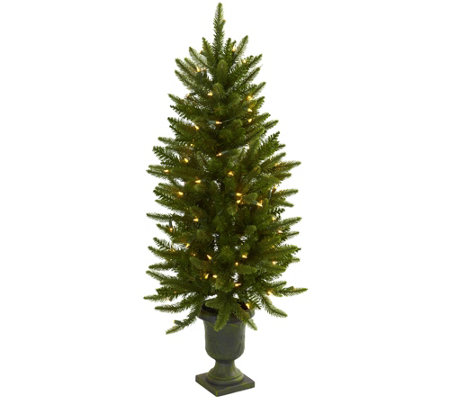 4' Christmas Tree with Urn & Clear Lights by Nearly Natural
