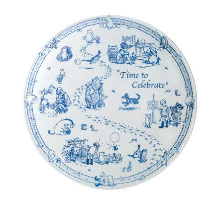 Spode Classic Pooh Blue Toile Time to Celebrate11u0026quot Cake Plate  sc 1 st  QVC.com & Spode Classic Pooh Blue Toile Time to Celebrate11
