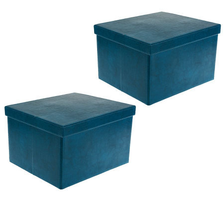 Merveilleux S/2 Large Collapsible Faux Leather Storage Boxes By Valerie