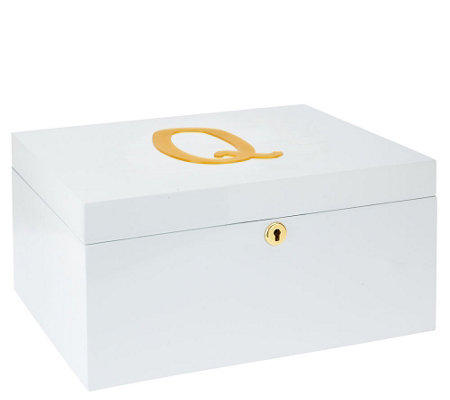 """As Is"" Antonella's Personalized White Lacquer Jewelry Box"