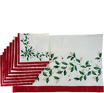 "Lenox Holiday 60"" x 104"" Water Repel Tablecloth w/ 8 Napkins - H210458"
