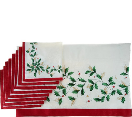 "Lenox Holiday 60"" x 104"" Water Repel Tablecloth w/ 8 Napkins"