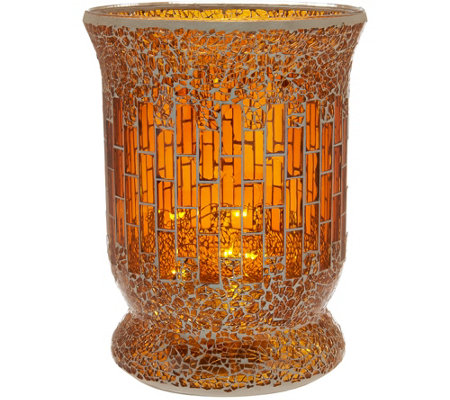 """As Is"" 8"" Glass Mosaic Tiled Vase with Micro Lights by Valerie"