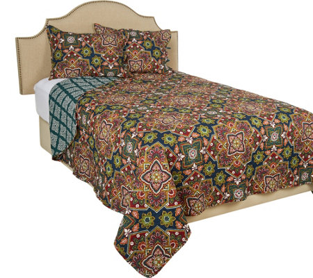 Home Resort F/Q Geometric Floral 100% Cotton Quilt with Shams
