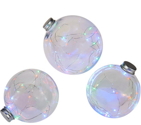 """As Is"" Kringle Express S/3 Indoor/Outdoor Clear Globes w/ Micro Lights"
