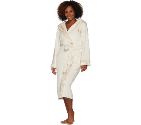 """As Is"" Dennis Basso Plush Robe w/Faux Fur Trim & Monogram Initial"