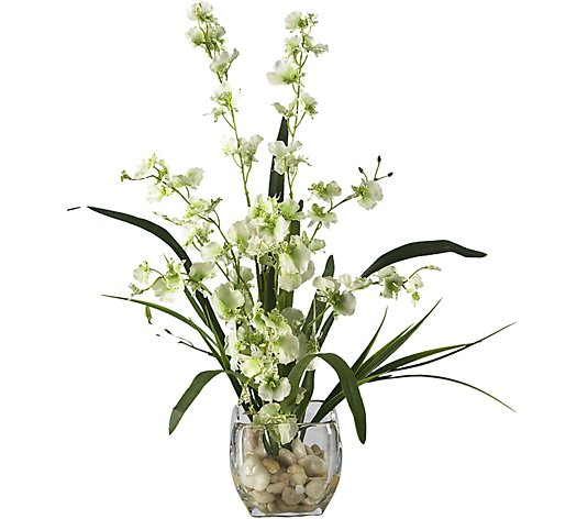 19 Orchid Silk Flower Arrangement By Nearly Natural Qvc Com