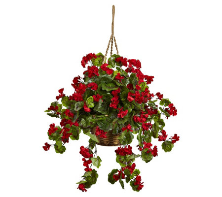 Geranium Hanging Basket by Nearly Natural