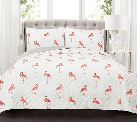 Kelly Flamingo 3-Piece King Quilt Set by Lush Decor