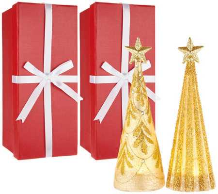 Kringle Express S/2 Illuminated Shimmer & Sparkle Trees w/Gift Boxes