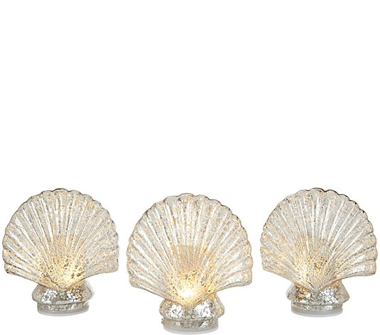 Set of 3 Illuminated Mercury Glass Figural Icons by Valerie