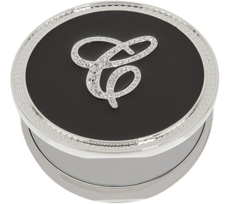 """As Is"" Crystal Initial Compact Mirror with Magnification by Lori Greiner"