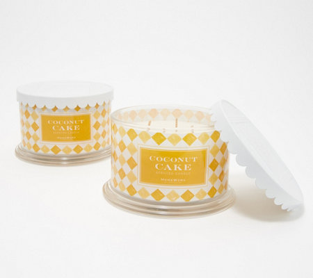 HomeWorx by Harry Slatkin Set of 2 Deluxe Coconut Cake 4-Wick Candles