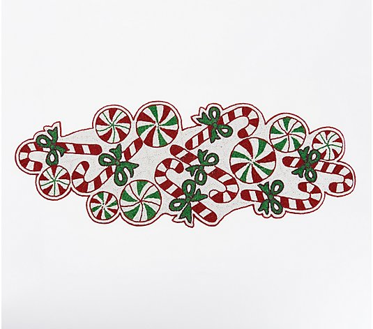 "36"" Beaded Peppermint Candy Table Runner by Valerie"
