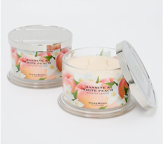 HomeWorx by Harry Slatkin S/2 Jasmine & White Peach 4-Wick Candles