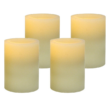 Pacific Accents Set of 4 3x4 Flat Top Wax Candles