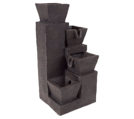 Brown 4 Tier Modern Design Geometric Fountain by Pure Garden