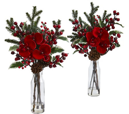 Set of 2 Holly Berry and Orchid Vases by NearlyNatural