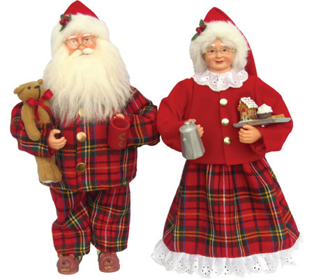 "Set of (2) 15"" Mr. and Mrs. Pajama Claus by Santa's Workshop"
