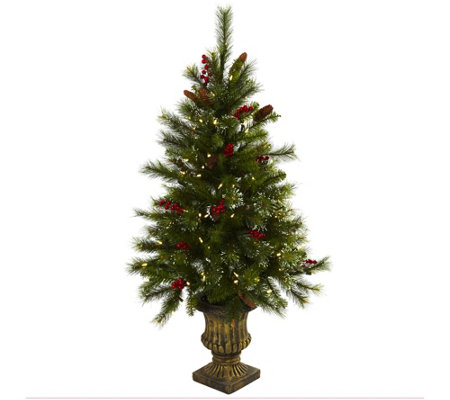 4' Christmas Tree with Pine Cones in Urn by Nearly Natural