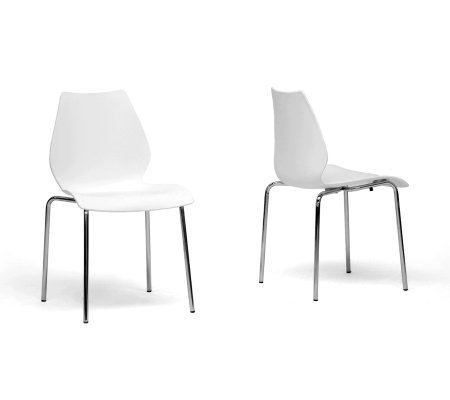 Set of 2 Overlea White Modern Dining Chairs