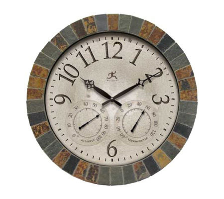 Indoor Outdoor Clock with Slate Mosaic Border by Infinity