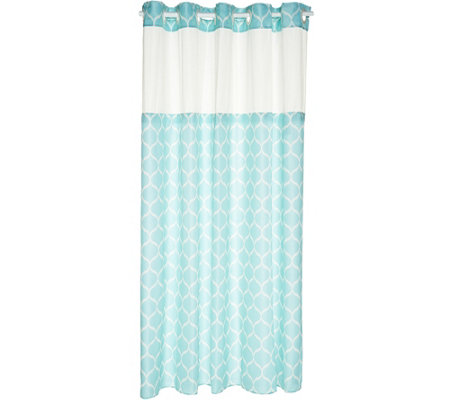 EZ ON by Hookless Ogee Print Design Shower Curtain with Liner