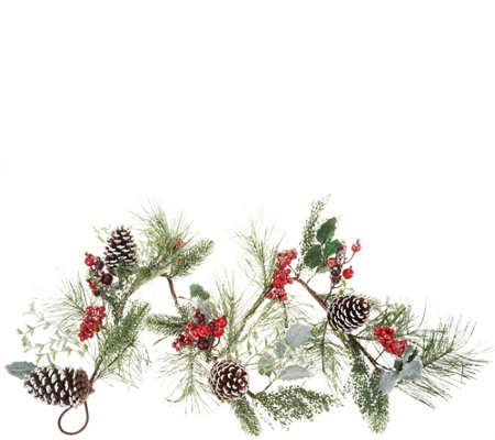 """As Is"" 4' Garland with Berries, Holly & Pinecones by Valerie"