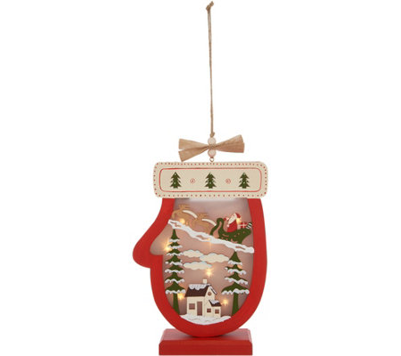 Plow & Hearth Illuminated Wooden Holiday Icon with Timer