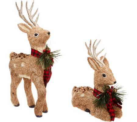 Set of 2 Glistening Sisal Deer with Ribbon by Valerie