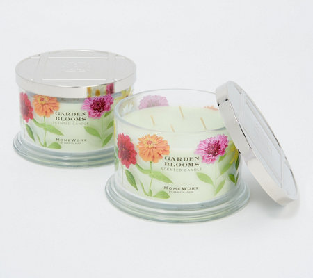 HomeWorx by Harry Slatkin Set of 2 Garden Blooms 4-Wick Candles