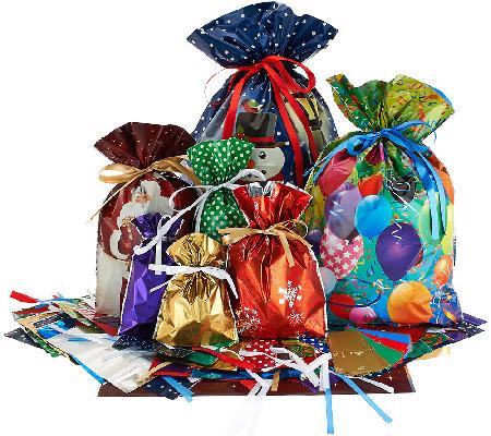 Kringle Express  Piece E Z Drawstring Holiday Gift Bag Set
