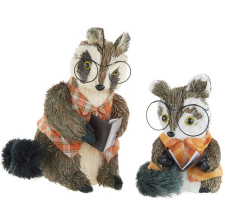 Set of 2 Sisal Racoons with Reading Glasses by Valerie